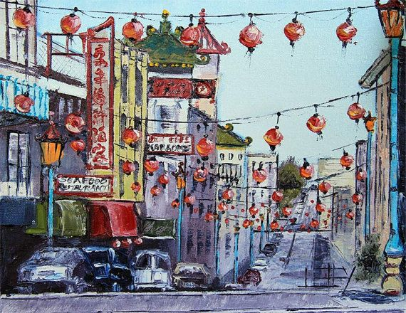 San Francisco Chinatown Chinese New Year By Paletteknifeart