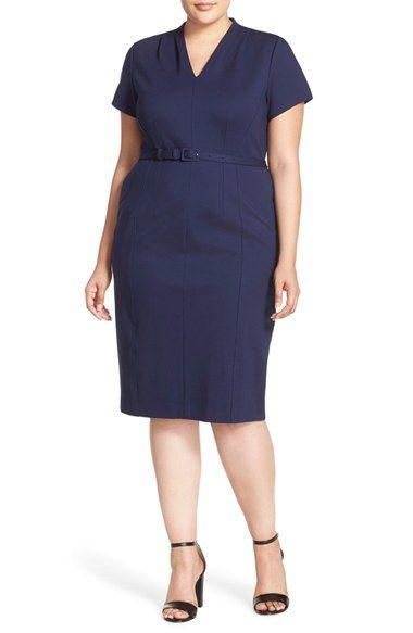 810a9a73d9a Sejour Belted Ponte V-Neck Sheath Dress (Plus Size)