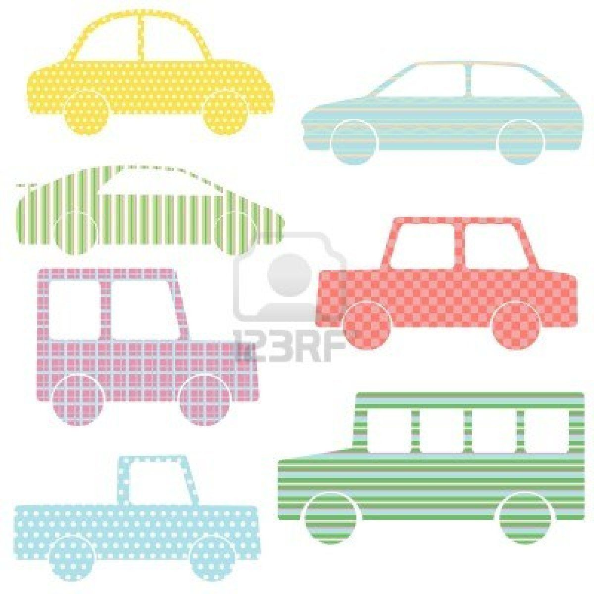 Vector Set Of Car Silhouettes With Simple Patterns Car Silhouette Simple Patterns Applique Templates