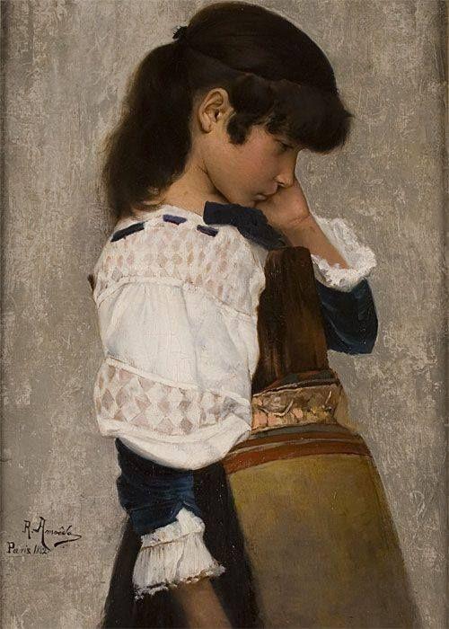 "RODOLFO AMOEDO, ""Amuada"", 1882, olio su tela."