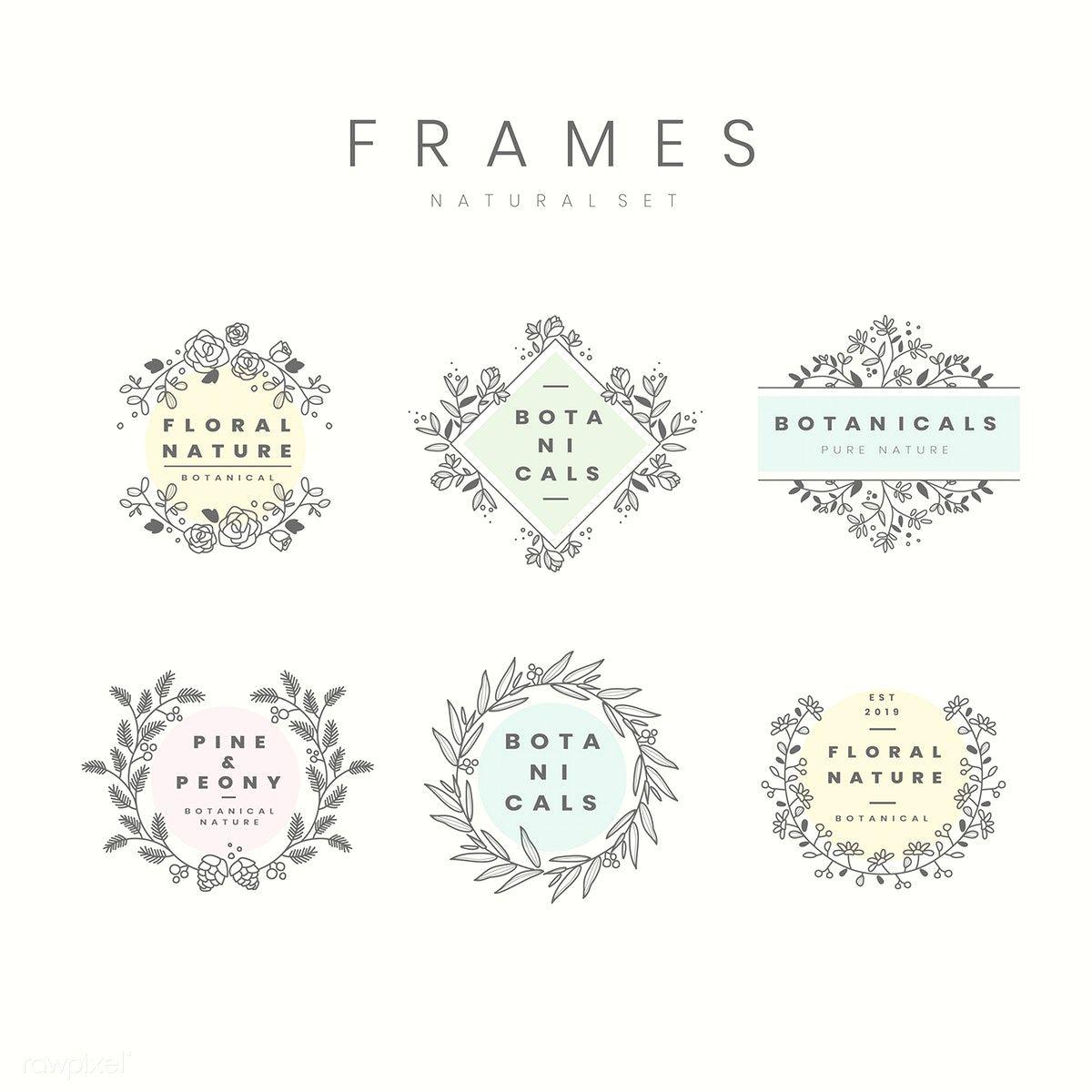 Set of botanical frame design elements vector free image