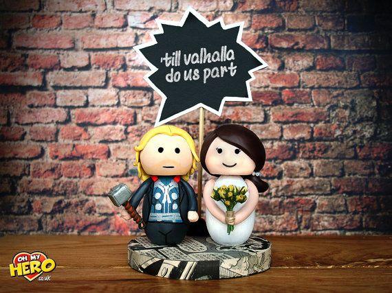 Thor And Bride Wedding Cake Topper Superhero