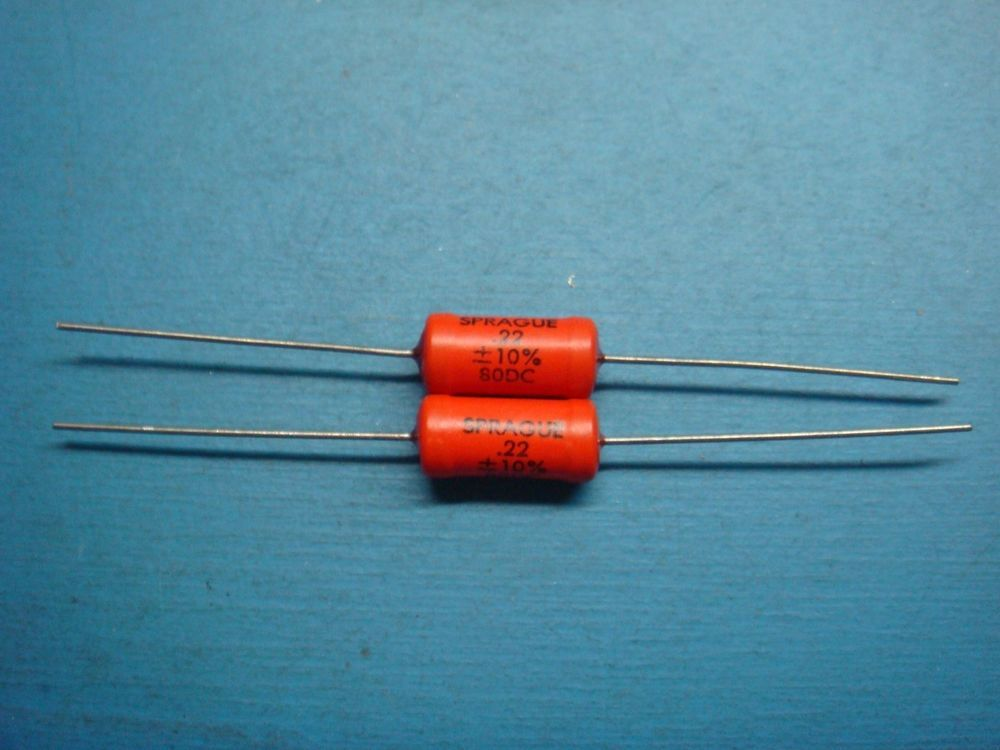 2 Sprague 192p224x9080 22uf 80v 192p Axial Orange Pacer Capacitor Nos Diy Audio Projects Electronics Components Capacitors