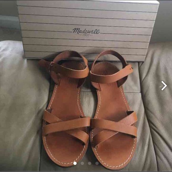 Madewell crisscross leather sandals 9 Size 9 in great preowned condition in color warm sand come with original box Madewell Shoes Sandals