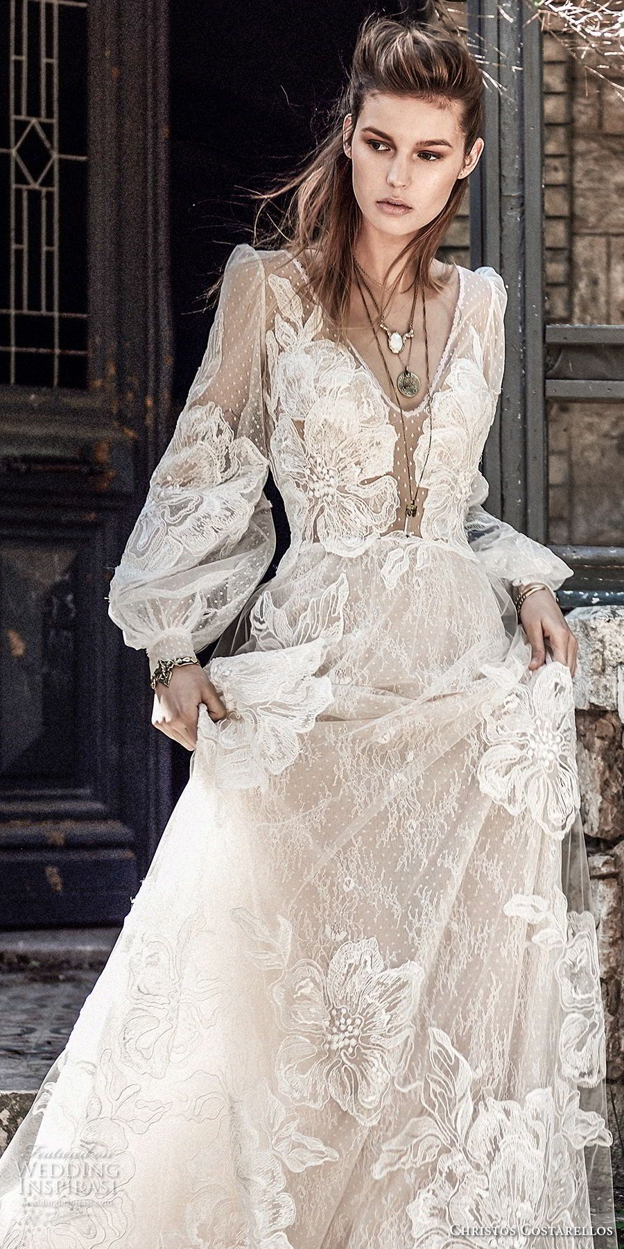 bfc2aa748a9 christos costarellos spring 2018 bridal long bishop sleeves v neck full  lace embellishment bohemian elegant a line wedding dress (70) zv --  Costarellos ...
