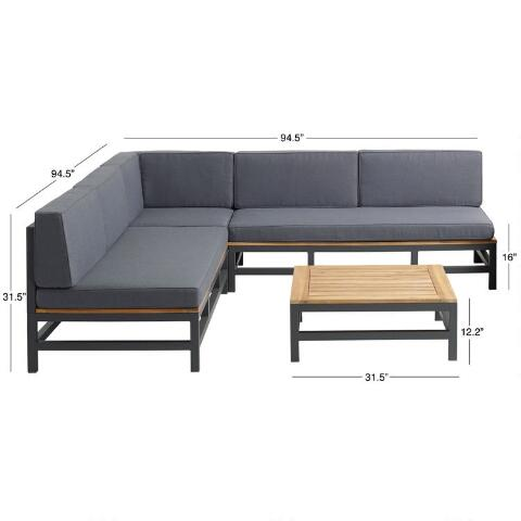 Alicante 4 Piece Square Outdoor Sectional With Coffee Table World Market 1579 In 2020 Affordable Furniture Coffee Table Outdoor Sectional Sofa