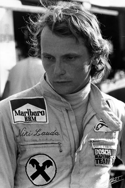 Niki Lauda - i don't know what all the fuss was about over James Hunt - i think Niki was cute!