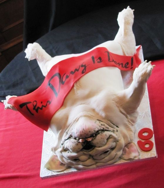 Bulldog Uga Birthday Cake In 2020 Bulldog Cake Puppy Dog Cakes