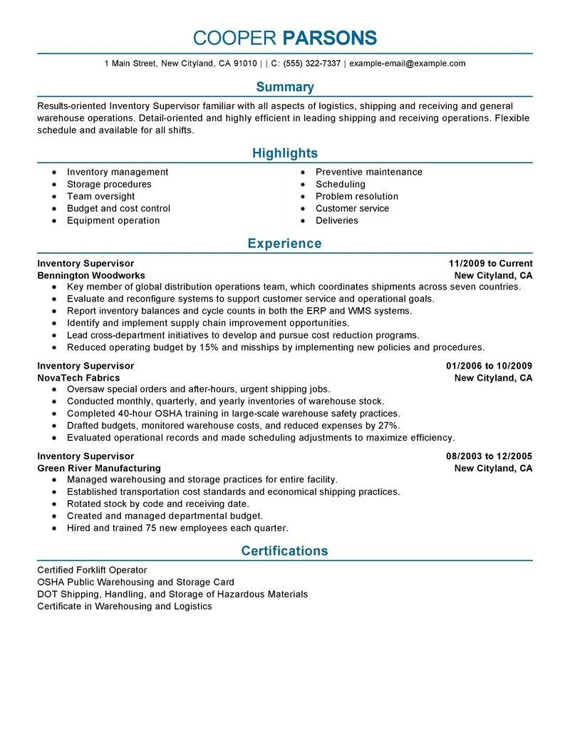 20 Best Ideas Warehouse Supervisor Resume Good resume