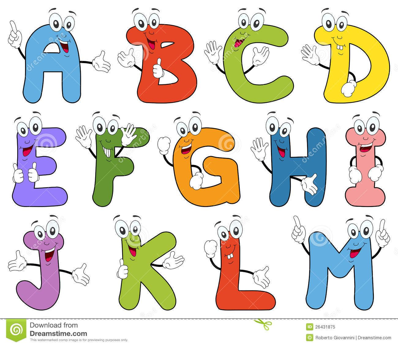 Cartoon Alphabet Characters A M