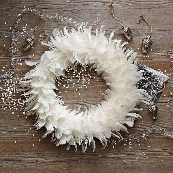 Feder Deko Weihnachten: Weiße Weihnachten Ideen Dekorationen Feder Kranz