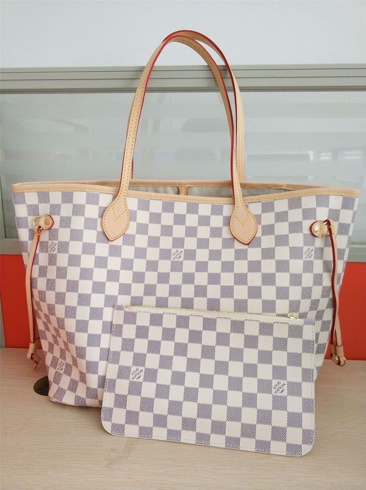 da0efc1c74fc NEW LOUIS VUITTON NEVERFULL Damier Azur canvas Tote Medium POUCH should bag   fashion  clothing