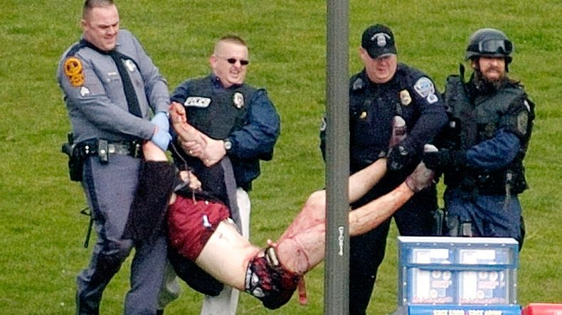 This is the famous photo from the Virginia Tech shooting