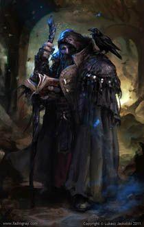 Moloch Wizard Follower Of Azaziel With His Raven Familiar Arsenic
