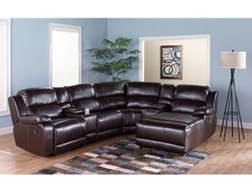 Styleline 6 piece motion sectional in brown rent to own - Rent to own living room furniture ...