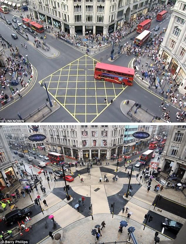 """Oxford Circus, before/after new pedestrian scramble. #DesignMatters (via @BrentToderian / @DailyMailUK)"""