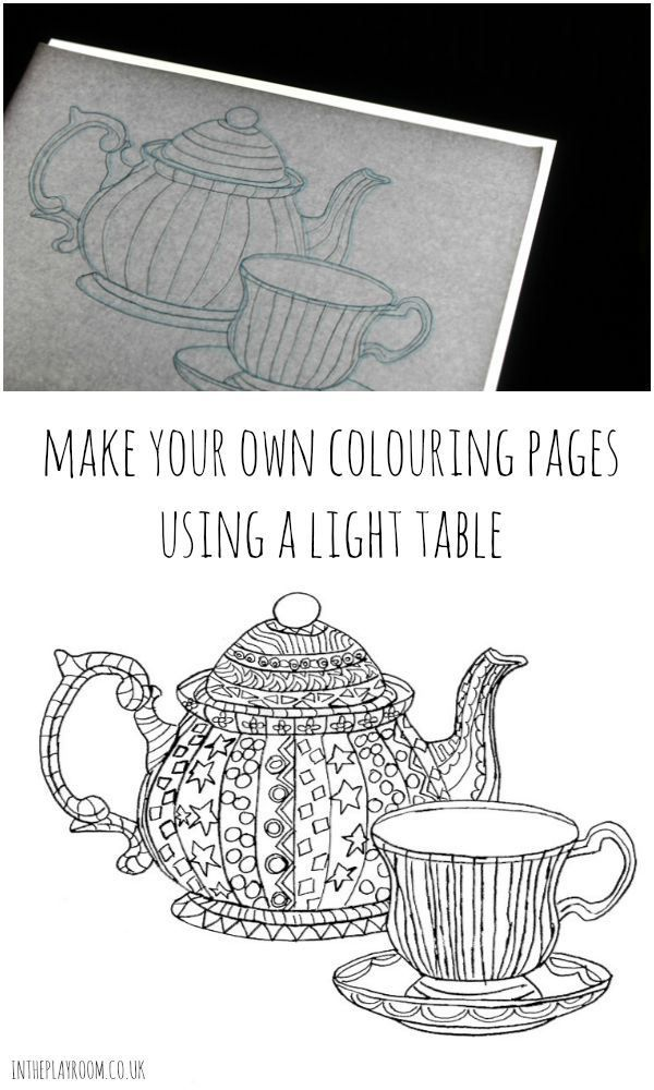 Making Your Own Colouring Pages with a Drawing Light Table | Messy ...