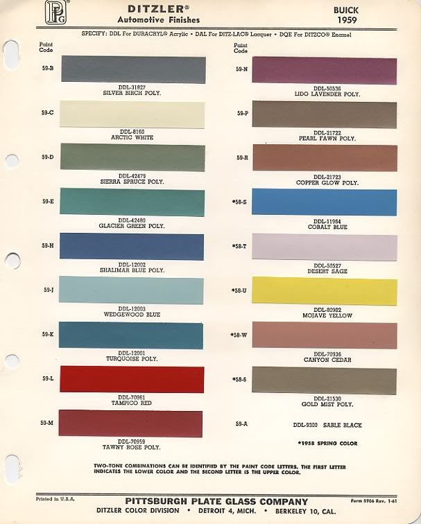 Fender Pre Cbs Custom Colors Project Mustang 1968 Mustang Paint Charts