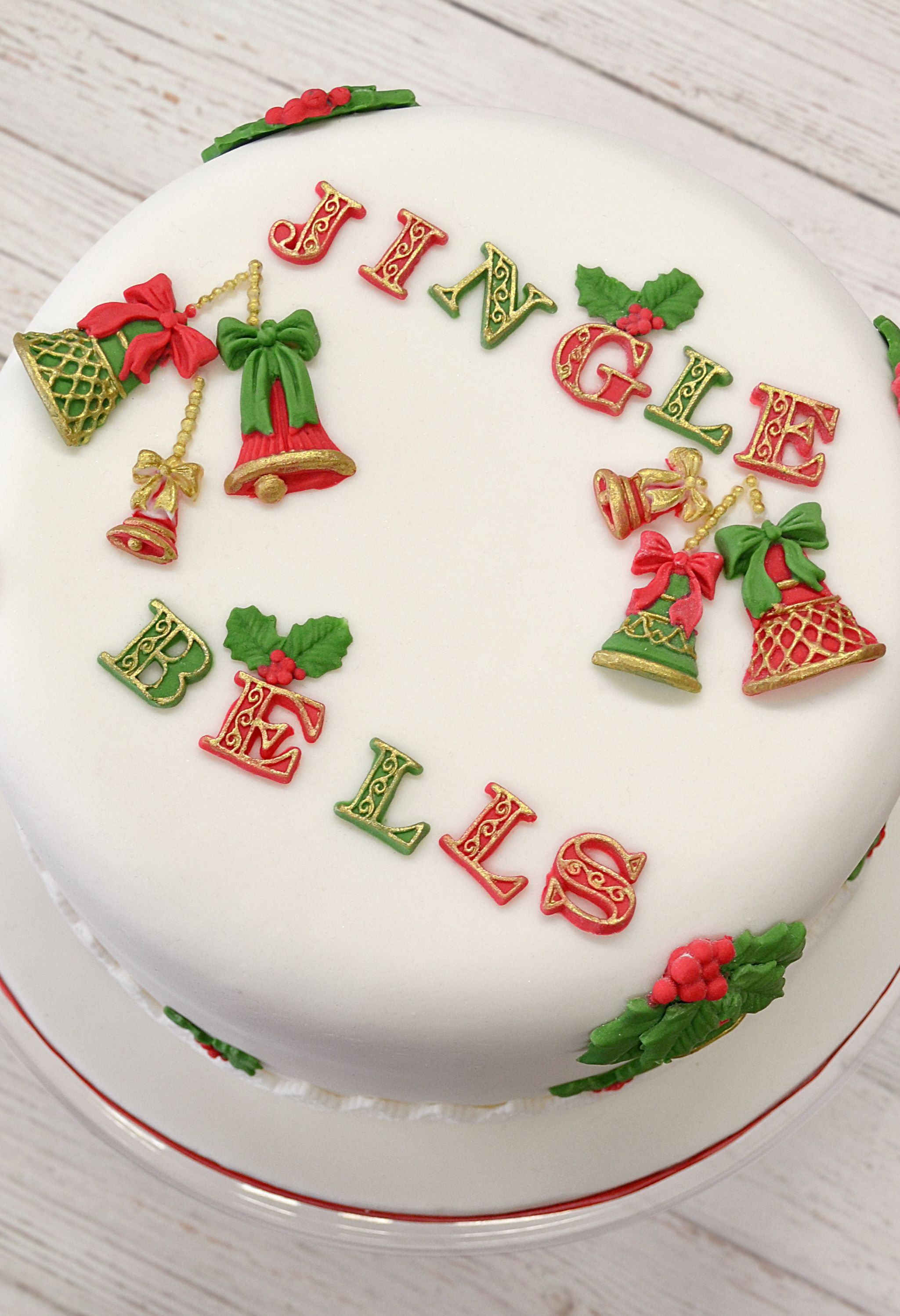 Jingle Bells Christmas Cake Made Using The Katysuedesigns Festive