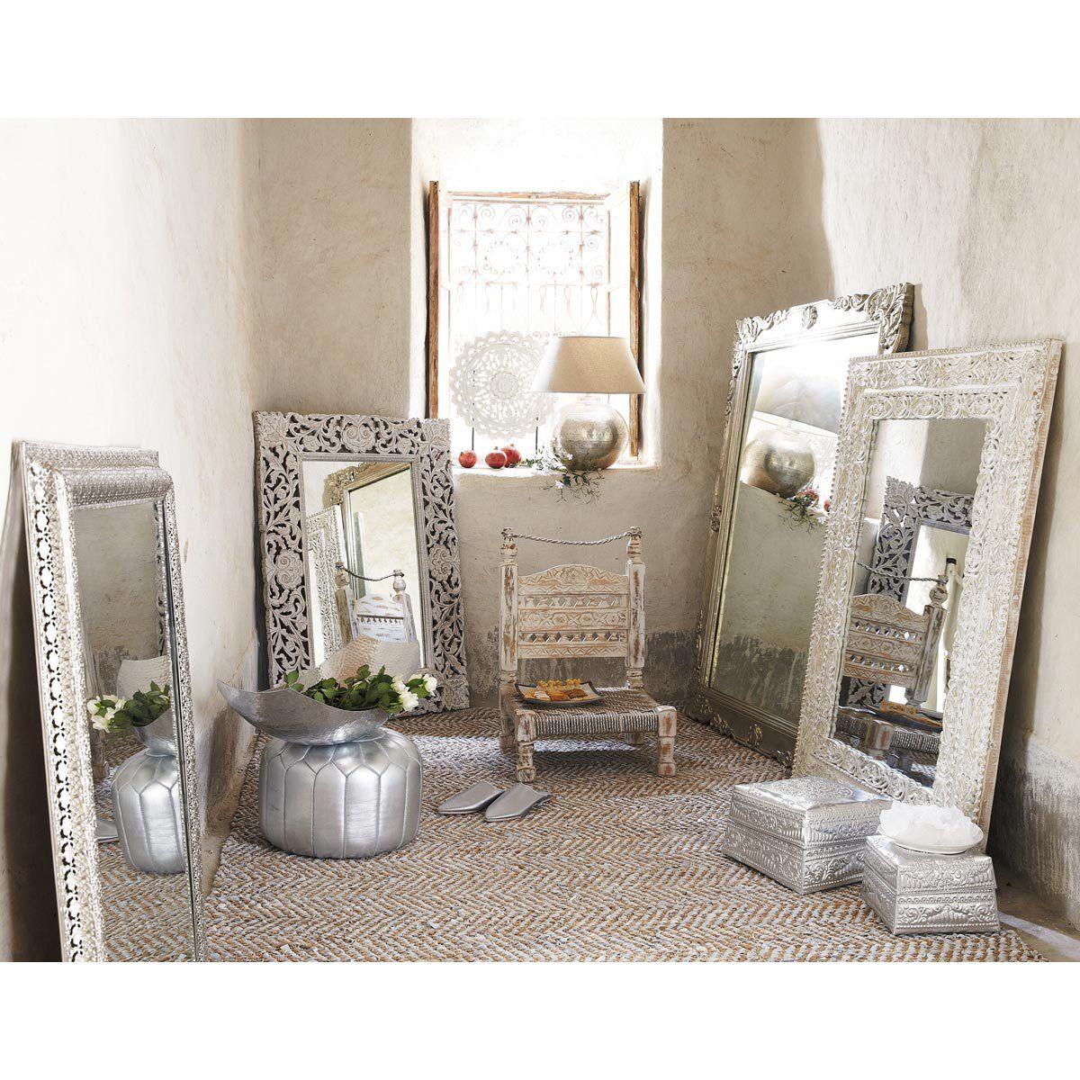 miroir blanc bhopal maisons du monde exotique miroir. Black Bedroom Furniture Sets. Home Design Ideas