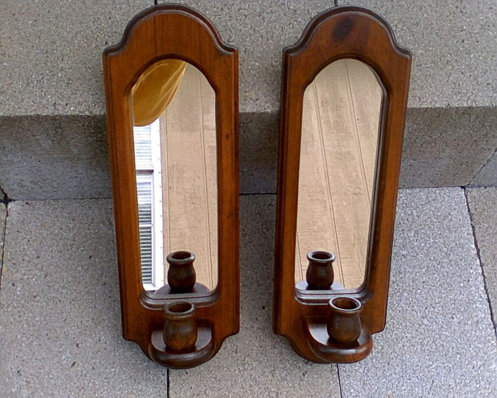 2 VINTAGE WOODEN WALL SCONCE CANDLE HOLDERS with MIRRORS ... on Vintage Wall Sconce Candle Holder Decorating Ideas id=89698
