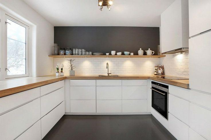 moderne Küchen in Eiche arbeitsplatte-wandverkleidung-weisse - wandverkleidung für küchen