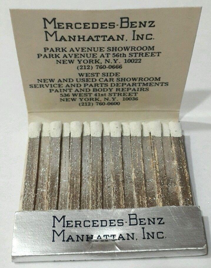 New York City Flagship Car Dealership Matchbook. Rear Strike Matchbook.  Mercedes Benz Of Manhattan, Inc. West Side New And Used Car Showroom.