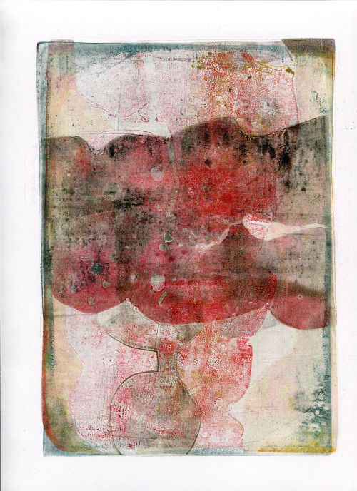 """Mary Zeran: """" All About the Red #1, 11""""x9"""", monoprint, 2014 copyright Mary Zeran """""""