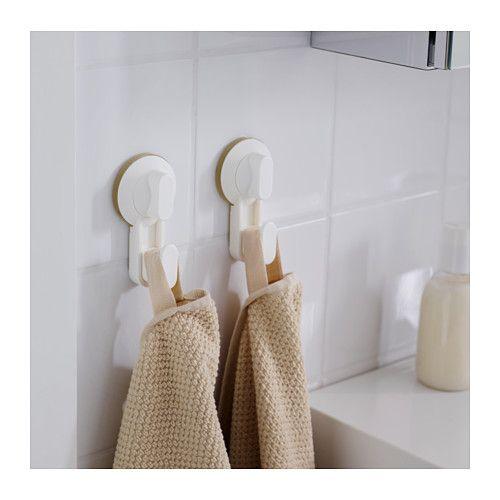 STUGVIK Crochet avec ventouse blanc