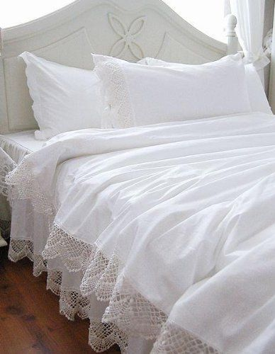 White Elegant Lace Duvet Cover Bedding Set White House