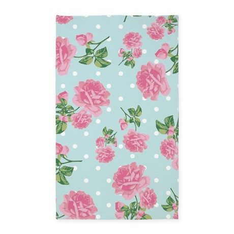 Pink Roses On Mint 3 X5 Area Rug