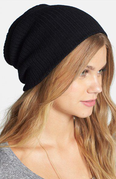 Slouchy Ribbed Beanie in Black