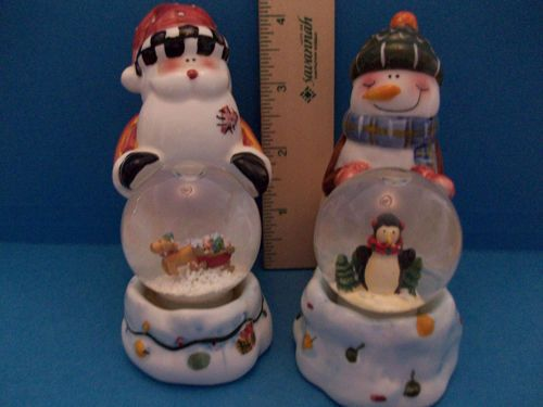 Snow Globe Santa Snowmen Novelty Salt Pepper Shaker Set Vintage On Ebay Fitz And Floyd Salt Pepper Shakers Set Vintage