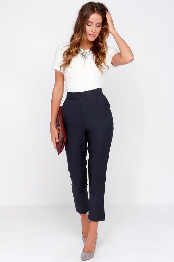22fc00dbc Trouser We Go Navy Blue High-Waisted Pants at Lulus.com!