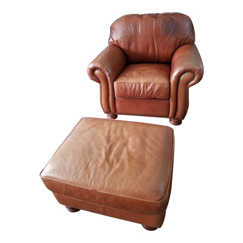 thomasville leather chair banquet chairs cheap ralph lauren style club ottoman last markdown before otooman