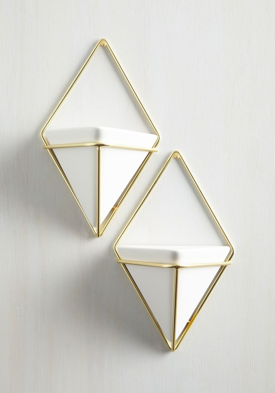 Exemplary Contemporary Wall Vase Set is part of Home Accessories Decor Vase - Capture the quintessence of modern marvelousness by updating your home with this pair of hanging vases  Golden, diamondshaped wire frames cradle white ceramic vases, creating a cool place to plant succulents or flowers