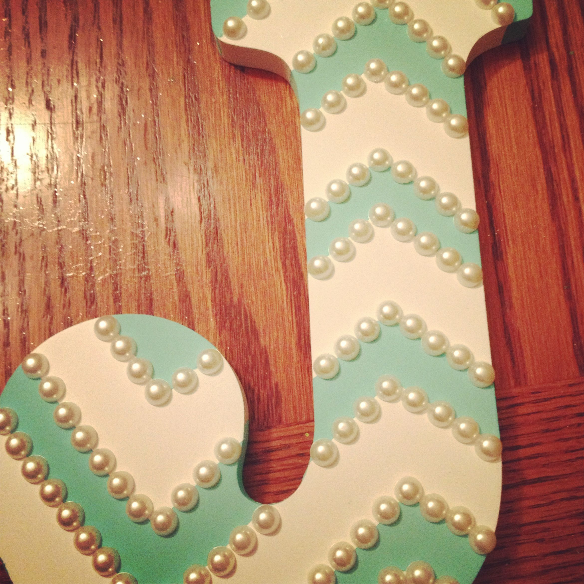 wooden letter painters tape aqua paint and pearls