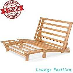 Queen Size Tri Fold Wood Futon Sofa Bed Lounger Frame Space Saver Natural Finish Ideal For Small Spaces Rvs And Dorm Furniture Wood Futon Frame Futon Frame Small Futon