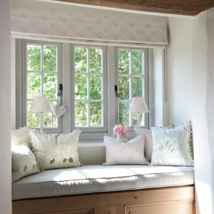 cottage style furniture living room with window seat   Country Cottage Style window seat with Peony & Sage and ...