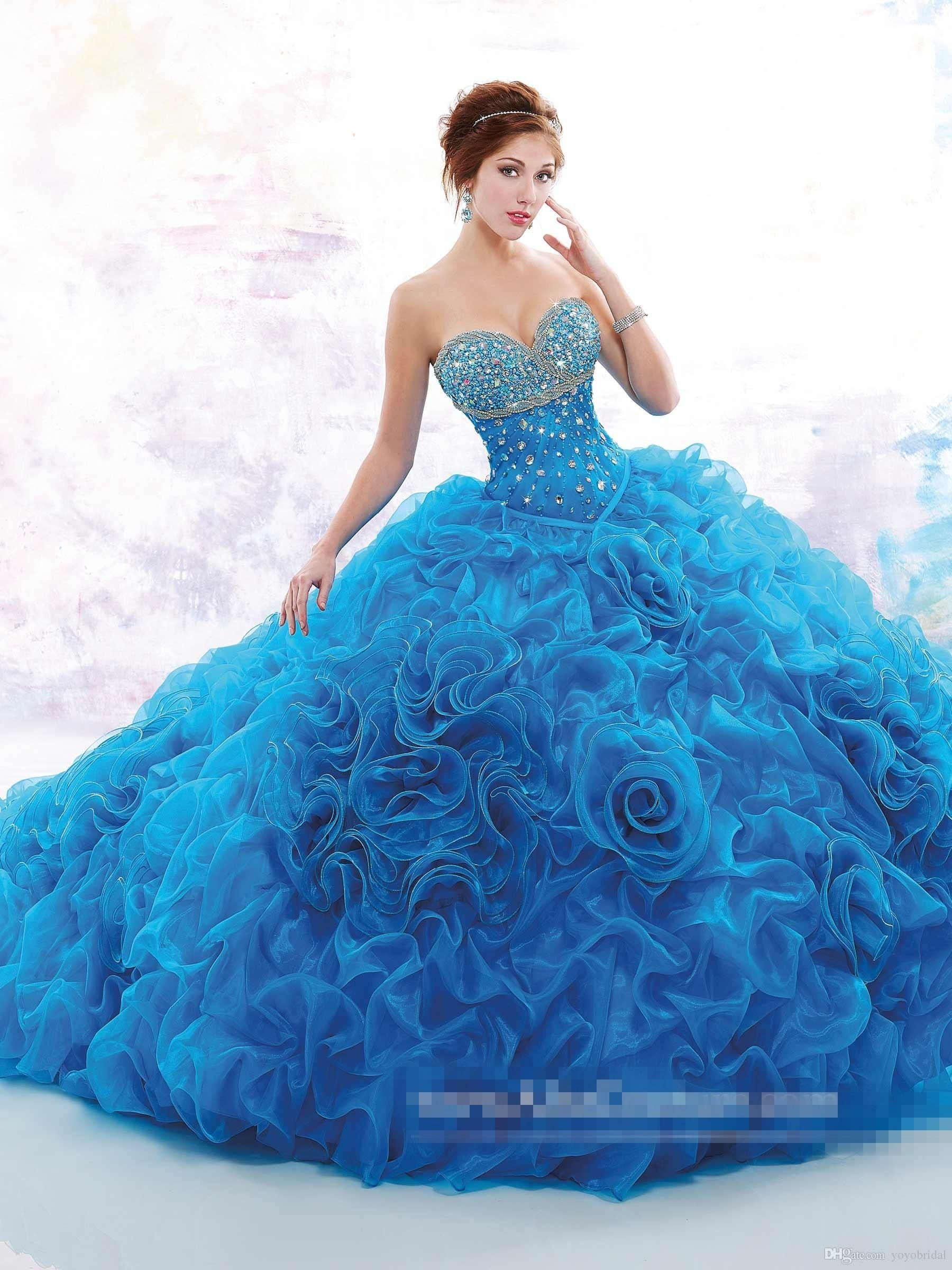f94b1dd5ddd 2017 Quinceanera Dresses Crystal Beading Sequins Sweetheart Piping Blue  Rose Flower Cascading Ruffles Dress With Wrap Custom Ball Gown