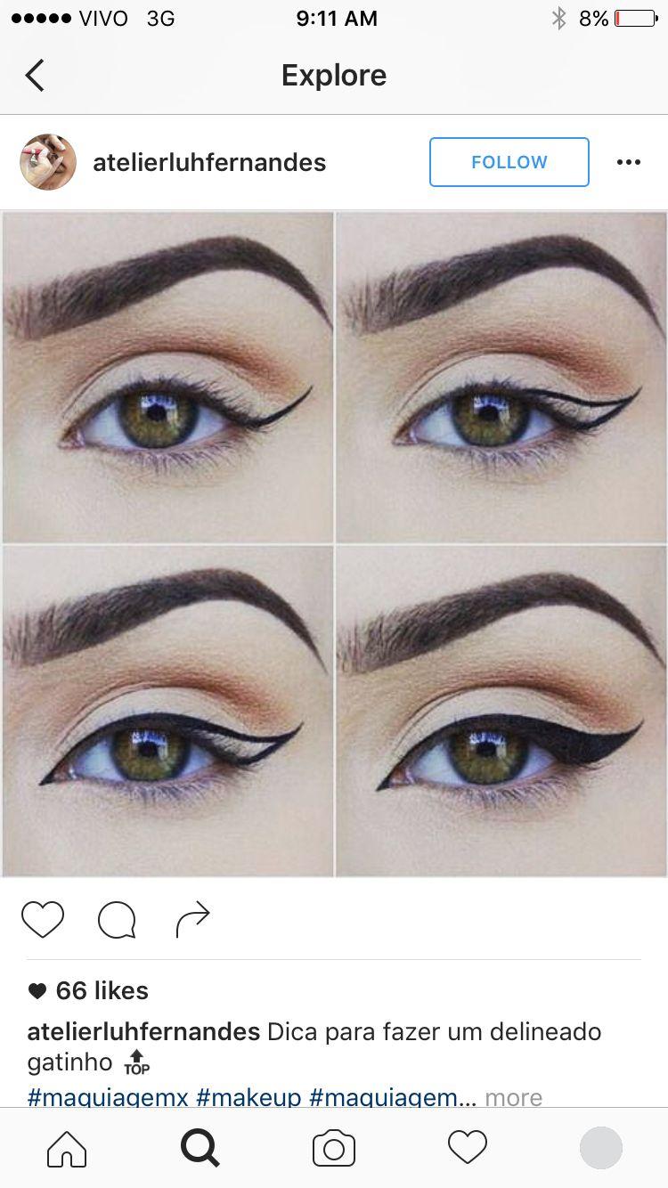 Easy trick for liner makeup inspiration pinterest makeup easy winged and bold eye liner tutorial baditri Image collections