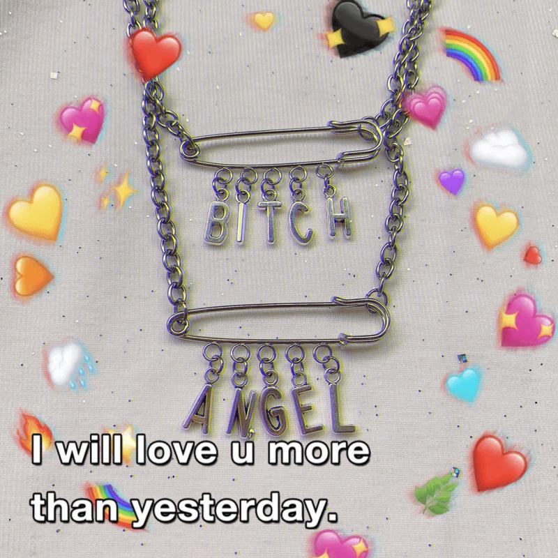2019 的 Punk BITCH ANGEL Words Safety Pin Necklace 主题