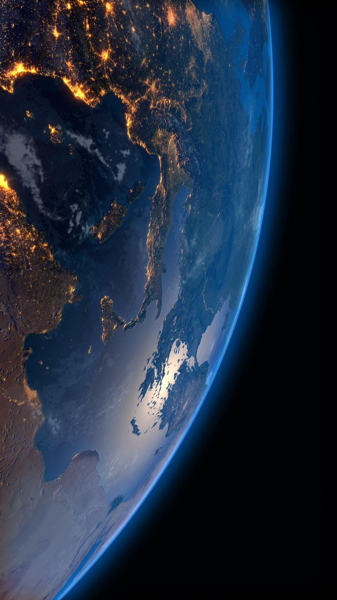Live wallpapers for smartphone Looped video background for iPhone Earth at night, city lights ...
