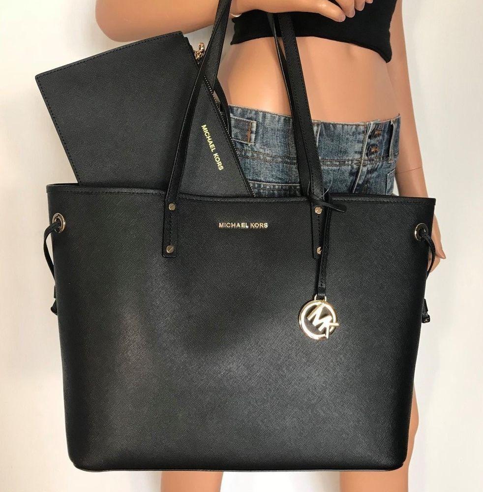 94bcd594d6e4 NWT Michael Kors Large Tote Handbag Bag Black Jet Set Travel Leather   MichaelKors  Tote
