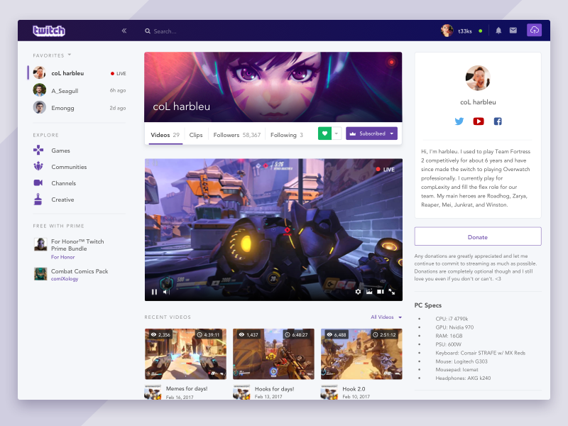 Redesign Twitch Tv Redesign Website Redesign App Design