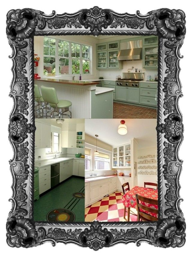 """Retro Kitchens That Spice Up Your Home"" by tripledog ❤ liked on Polyvore featuring arte y kitchen"