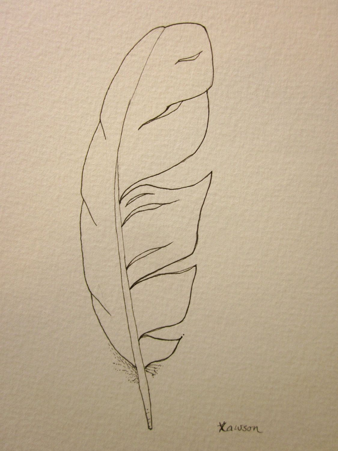 Sea bird feather -- original ink drawing | Motive, Federn und Zeichnen
