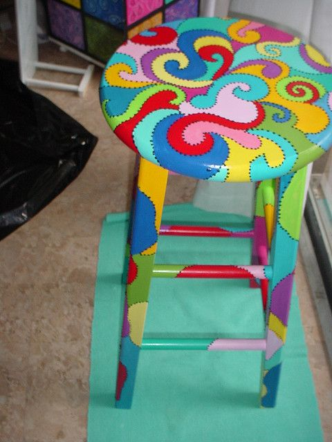 Barstool Whimsical Painted Furniture Funky Painted Furniture