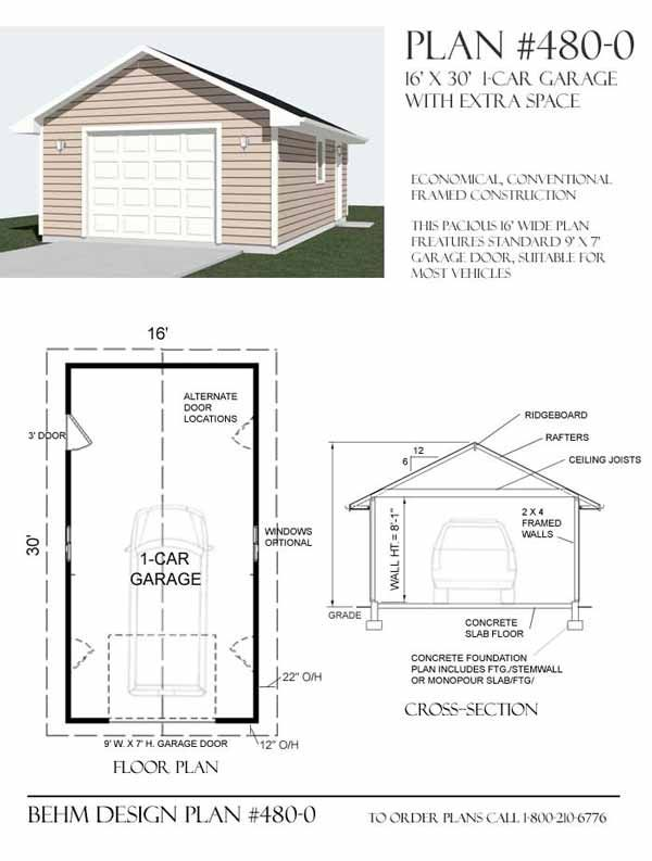 Large 1 Car Garage Plan No. 480-0 by Behm Design | Garage Plans By ...
