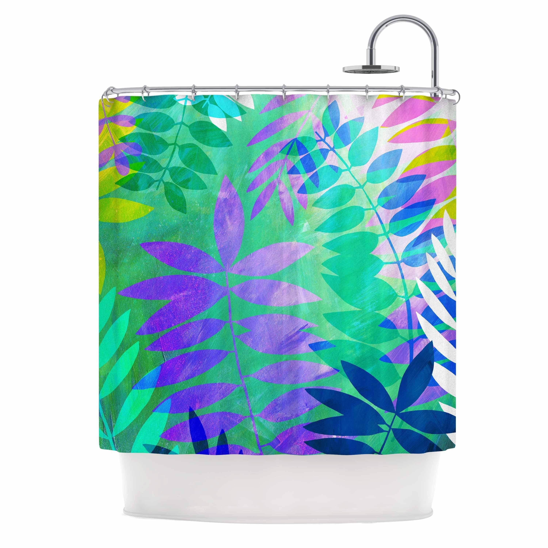 teal curtains wilde jessica inhouse purple shower jungle curtain pin kess